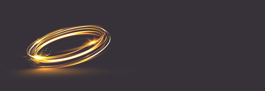 Goldener abstrakter Wirbel auf schwarzem Hintergrund